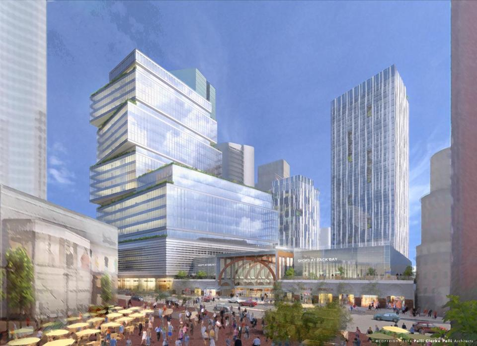 A rendering of the Boston Properties Inc. plan to transform and expand the Back Bay MBTA station.